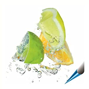 Fliesenaufkleber für Bad und Küche - 15x20 cm (BxH) - Motiv Zitrusfrüchte - 8 Fliesensticker für Wandfliesen
