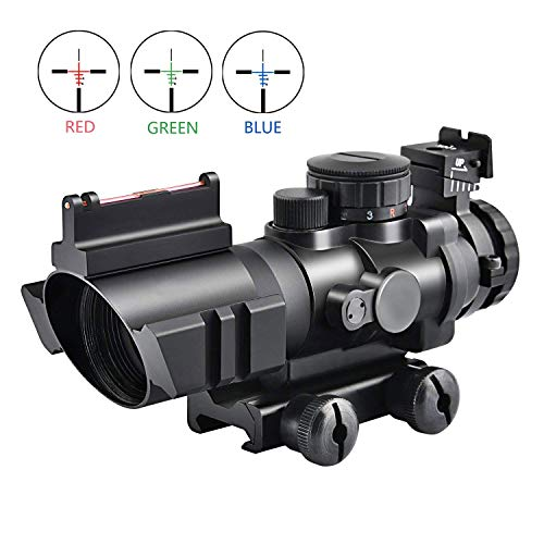 Zielfernrohr 4x32mm Airsoft Red Dot Visier Sight Leuchtpunktvisier mit Fiberoptic und 20mm/22mm Montage für Jagd und Sport -