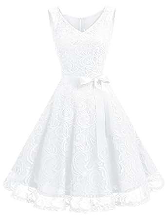 Dressystar DS0010 Robe Femme soirée/Demoiselle d'honneur/Bal Col en V sans Manches Dentelle avec Une Ceinture Blanc XS