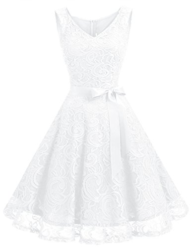 Dressystar DS0010 Robe Femme soirée/Demoiselle d'honneur/Bal Col en V sans Manches Dentelle avec Une Ceinture Blanc XL