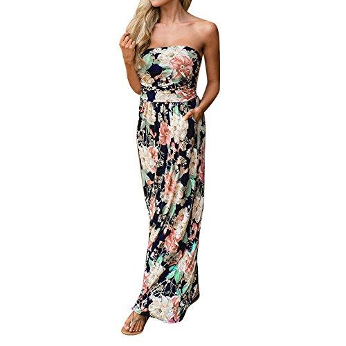 Langes Damen-Sommerkleid, rückenfrei mit floralem Muster, Maxi-Kleid XL schwarz (Camisole Lange)