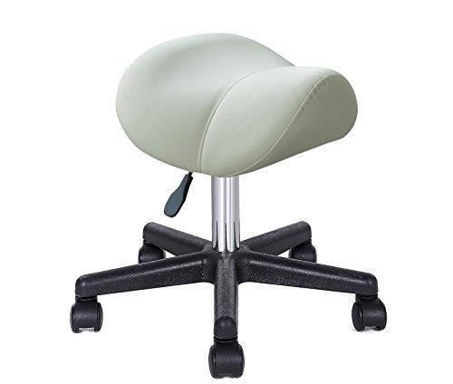 Crisnails® Silla de Trabajo, Taburete con Ruedas Giratorias, Taburete para Cosmetica, Dentista y Peluqueria (Blanca)
