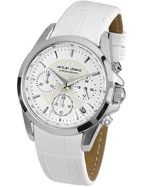 Jacques Lemans Damen-Armbanduhr XS Chronograph Quarz Leder 1-1752B