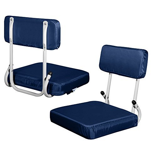 Plain Navy Blue Hardback Stadium Seat by Logo Blue Hardback