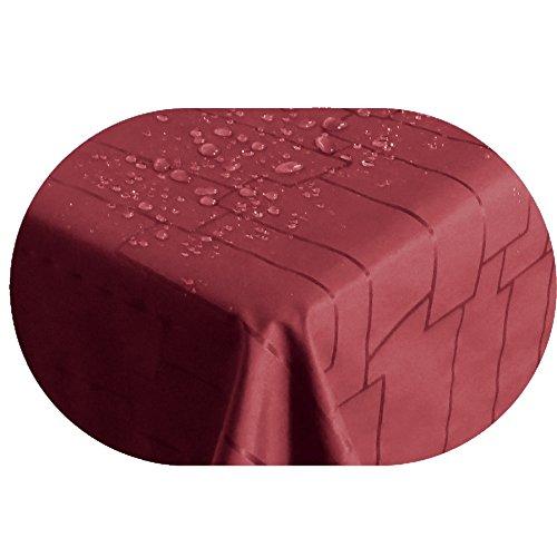 Stofftischdecke Farbe und Größe wählbar - Royal Steine TEFLON Oval ca. 140 x 200 cm Rot...