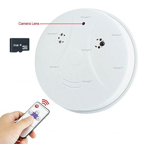 TEKMAGIC 8GB 720P HD Versteckte Spionage Kamera Rauchmelder Getarnte überwachungskamera mit Aufzeichnung und Bewegungsmelder für Hause