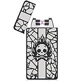 Fypo Mechero USB, Encendedor Electrico USB Lighter Electrónico Recargable de Doble Arco, Resistente al Viento sin Llama para Cigarrillos de Hombre y Mujer