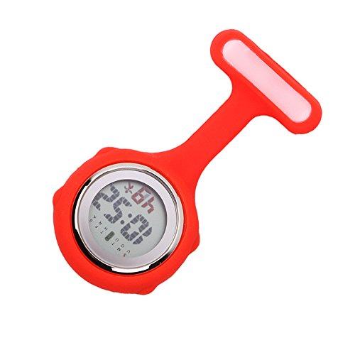Fresh66 Digital Silikon Schwesternuhr Krankenschwesteruhr Pflegeuhr Taschenuhr (Rosa)