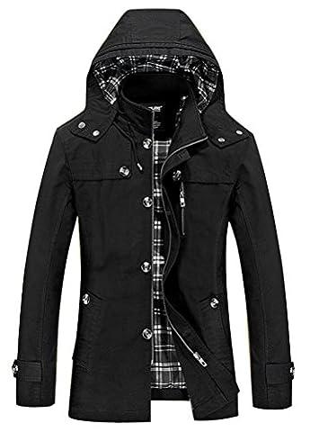 Vogstyle Hommes Jacket Printemps Nouvelle veste à capuche Trench Coats Noir 3XL
