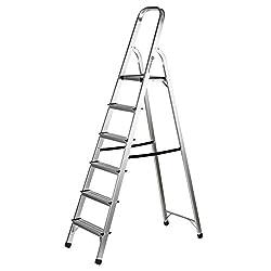 BuildCraft SR10014 Aluminium 6 Tread Step Ladder with 150 kg Capacity EN131