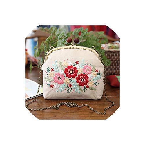 Strawberryran Embroidery Bag Stickerei Diy Blumen Taschen Portemonnaie Handtasche Handkreuzstich Kit, weiß 20,5cm, mit Kunststoff-Reifen - Bowler Kleine Handtasche