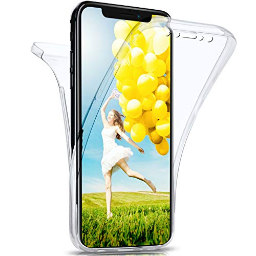 moex Apple iPhone X/XS   Hülle Silikon Transparent 360 Grad Double Side Cover Dünne Schutzhülle Slim Handyhülle für iPhone X/XS Case Klar Silikonhülle TPU