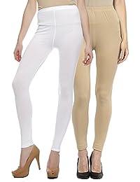 Sakhi Sang Leggings Pack of 2 : White & Beige