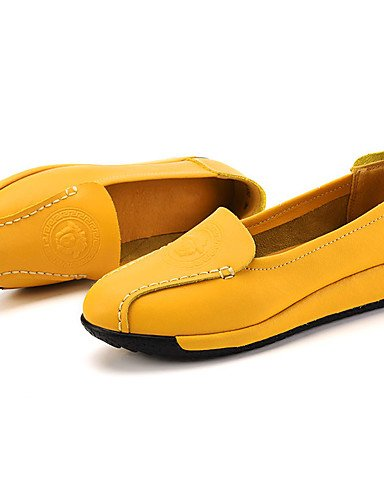 ZQ Scarpe Donna-Mocassini-Casual-Comoda-Piatto-Di pelle-Nero / Giallo / Bianco , yellow-us8.5 / eu39 / uk6.5 / cn40 , yellow-us8.5 / eu39 / uk6.5 / cn40 black-us6 / eu36 / uk4 / cn36