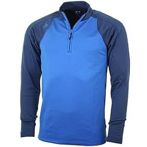 2015 Adidas Climawarm+ 3-Stripes Colourblock 1/4 Zip Top Mens Golf Fleece Bright Royal Medium