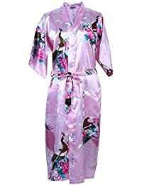Elite99 Women s Sexy Robes Peacock and Blossoms Kimono Satin Nightwear  Dress Long f05f683ae