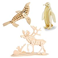 Georgie Porgy Woodcraft Construction Kits 3D Wooden Jigsaw Puzzle Wooden Model Kits for Kids Toys Age 5+ Pack of 3 (Penguin Wild Reindeer Sea Lion)