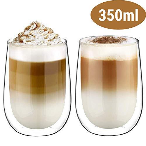 Glastal Doppelwandige Latte Macchiato Glaser Set Thermoglas Kaffeeglas Trinkgläser 2-teiliges 350ml (Volle Kapazität)