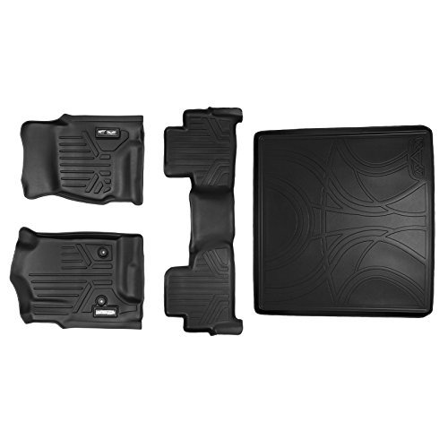 MAXLINER Custom Fit Floor Mat and Cargo Liner for Select Chevrolet Tahoe/GMC Yukon Models - (Black) (2 Row Set Behind Second Row 2 Row Set) by MAXLINER