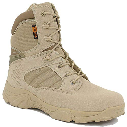 NDHSH Militärstiefel für Herren Schnürschuhe Desert Taktische Stiefel High Top Schuhe Side Zip Stiefel Wanderschuhe Safety Patrol Boots,Beige-42 Zip Boot