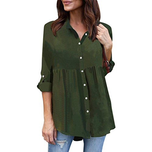 ESAILQ Damen Übergröße Solide Lange Ärmel Lässige Chiffon Damen OL Arbeit Tops T-Shirt (Lange Ärmel, Wrap-top)