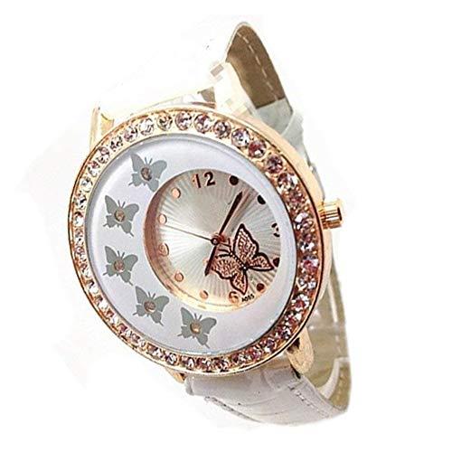 Nicebuty moda lady donne fantasia motivo farfalla in cristallo orologio pu cinturino in pelle strass bracciale orologio al quarzo bianco bella utile