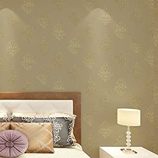 al-mullk Floral Wallpaper Contemporary Wall Covering , Non-woven Paper Continental Simple Luxury , light yellow