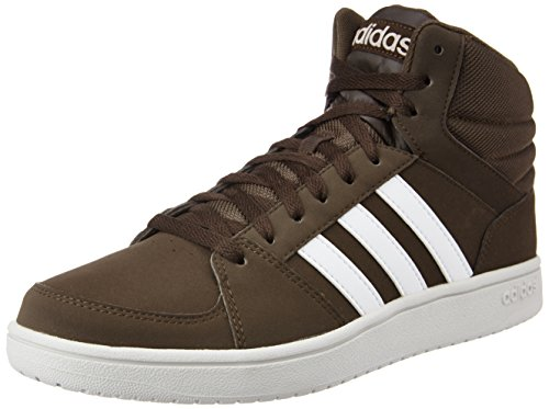 adidas neo Men's VS Hoops Mid Dbrown, Ftwwht and Peagre Leather Sneakers - 8 UK/India (42 EU)