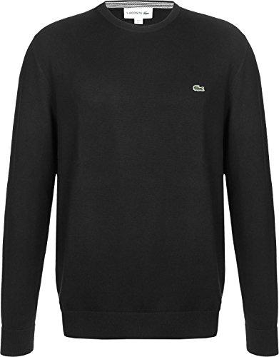 Lacoste AH7004 Klassischer Herren Pullover, Pulli, Strickpullover, Rundhals, 100% Baumwolle Black 031