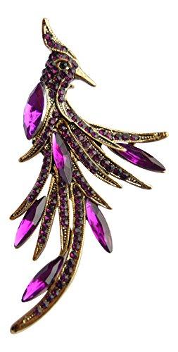 Boutique Brosche Glaskristall und Perlen Lila Stein Design Pfau, poliertes Gold-Finish, in Geschenkbox (Purple Peacock Pin)