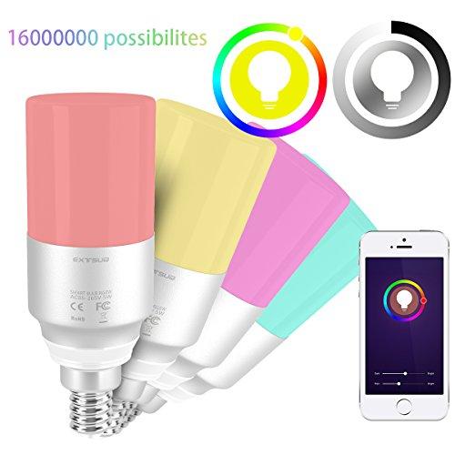 EXTSUD Smart LED WiFi Lampen,5W Dimmbar Mehrfarbig RGB LED Birne E14 Glühbirnen ändern Stimmung Licht Arbeit mit Smartphone,Tablet,Amazon Echo Plus Alexa,Google Home,Steuerbar via App