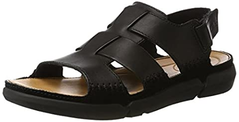 Clarks Herren Trisand Bay Sandalen, Schwarz (Black Leather), 42 EU
