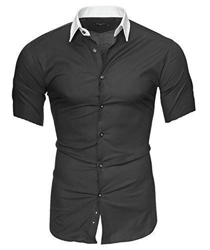 Kayhan Herren Kurzarm Hemd Original Mehrere Farben zur Auswahl Bügelleicht Florida Grau