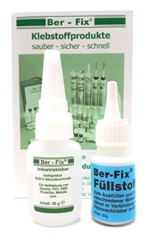 Ber-Fix Weisses Füllstoff Set - 20g Industrieklebstoff | 30g Füllstoff | 20g Ber-Fix Reiniger - Löser | 3x Fein Düsen -