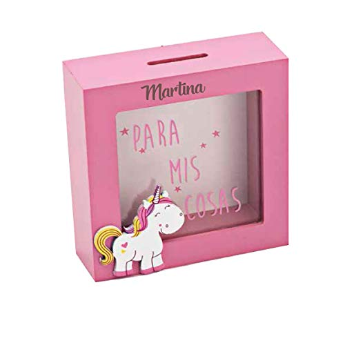 Curia grabador Hucha de Unicornio en Madera Rosa, Personalizada grabada con Nombre o Texto