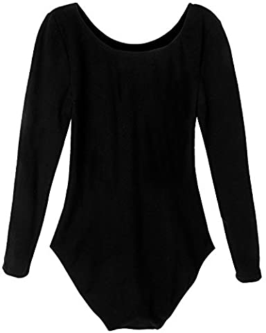 iEFiEL Justaucorps de Danse Classique Col Rond Extensible T shirt Manches longues Enfant Fille 3-12 Ans Noir 9-10 ans