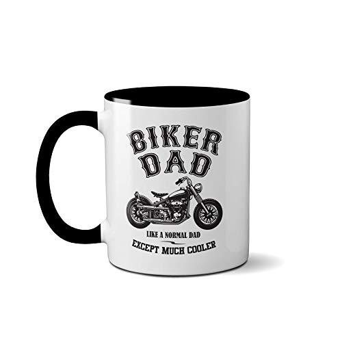 Taza con texto en inglés «Biker Dad», «Like A Normal Dad Except Much Cool», Black Handle Prime
