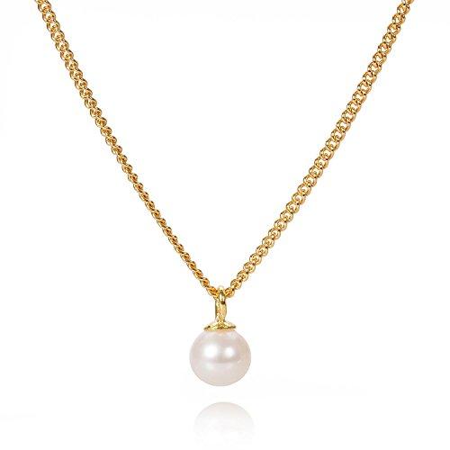 Louise Kragh Damen Halskette Mini Frischwasserperle Perle Anhänger Perlmutt Sterling Silber vergoldet - N-MFWPE0102g