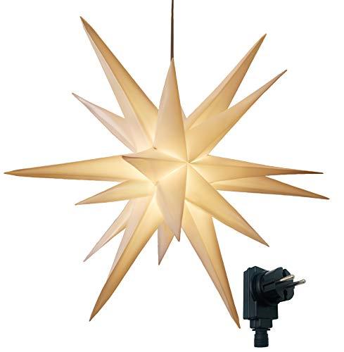 3D Leuchtstern / mit warm-weißer LED Beleuchtung / für Innen und Außen geeignet / hängend / 7,5 m Zuleitung / ca. 57x44x48 cm (Weiß)