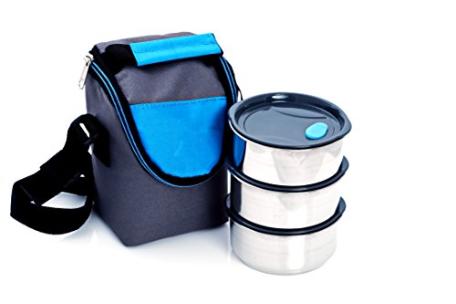 NanoNine Air-Tight Stainless Steel Lunch Pack with Air-vent Lids, 250mlx3 with pouch