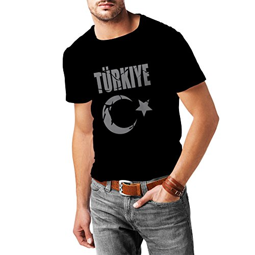 lepni.me Männer T-Shirt Türkei Türkisches Wappen Politisches Design Türkiye Cumhuriyeti (Large Schwarz Silber) -