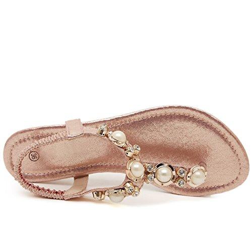 Bienbien Sandales Pour Femmes Fashion Jewel Low Chaussures Flip Flop Flops Elegant Pink Bohemia Pantoufles