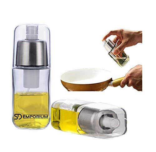 SD Emporium - Rociador de Aceite Premium de Vidrio Duradero con Filtro Anti-obstrucción y Tapa de Acero Inoxidable, dispensador, pulverizador para Vinagre o Aceite de Oliva sin BPA 180ml.