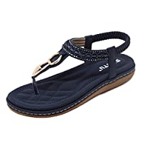 BELLOO Women Summer Sandals Flat Heel Flip Flops Post Thong Shoes, Blue UK 8