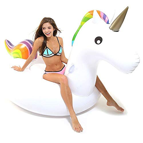 Hinchable Unicornio, Flotador de Unicornio Gigante Inflable Juguete Colchonetas Unicornio Flotador Conveniente para la Fiesta Piscina de Playa de Verano con válvula rápida para Adultos y Niños