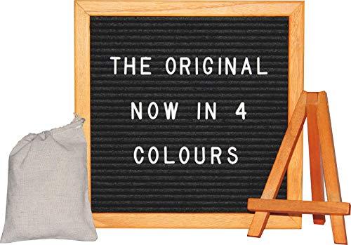 van Hoogen Premium Komplett Set Letter-Board in rot | Inkl. Buchstaben, Ständer und Beutel | Buchstabenbrett Holz Filz Letters in rot