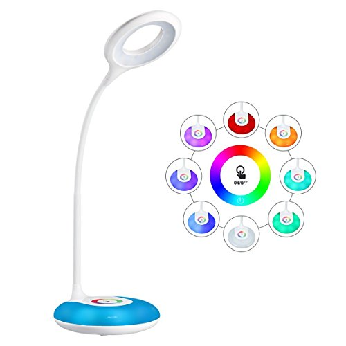 schreibtischlampe kinder, hihigou Dimmbare Augenschutz Leselampe 3.2W, Touch-Steuerung Farbwechsel und 3 Helligkeitsstufen, USB-Ladeanschluss, 360 Grad Flexibel Tischlampe Licht, …