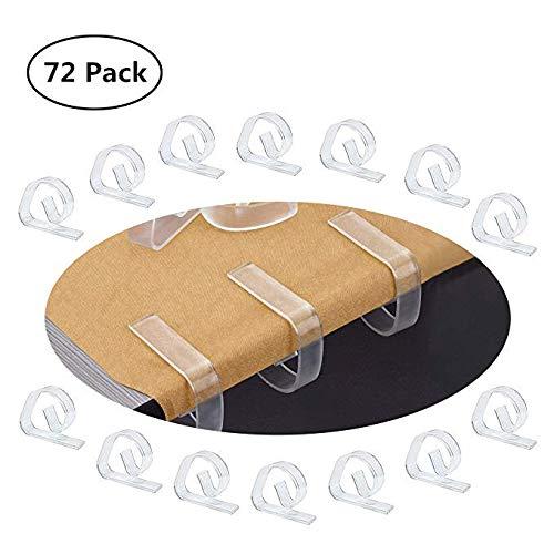 FEIGO Tischdeckenklammern, Tischklammern aus Kunststoff Tischdeckenbeschwerer Tischtuchhalter durchsichtig Tischtuchklammern 72 Stück Tischdecke Clips (4,7 x 1,2 x 3,5 cm)