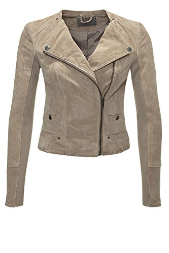 Vero Moda Damen Wildleder-Jacke Übergangsjacke Biker-Jacke Silver Mink