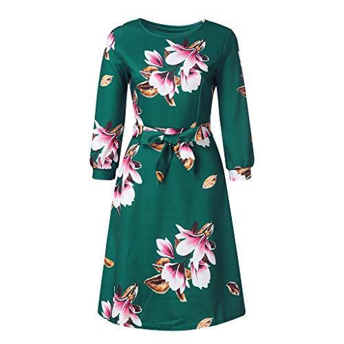 Mode Laternenärmel Vintage Blumendruck Kleider Blumenkleid, JMETRIC 5 Punkte Ärmel Mit Gürtel Sommerkleider Partykleid(Grün,XL)